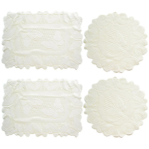 kilofly Butterfly Lace Reversible Table Placemats Doilies Value Pack [Set of 4], White & Beige