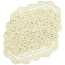 kilofly Crochet Cotton Lace Placemats Doilies 4pc, Oval, Beige, 7 x 14 inch