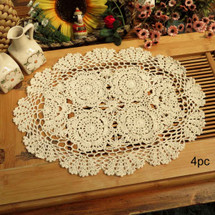 kilofly Crochet Cotton Lace Placemats Doilies 4pc, Oval, Beige, 12 x 17 inch
