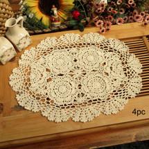 kilofly Crochet Cotton Lace Placemats Doilies 4pc, Oval, Beige, 12 x 17 inch