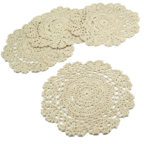kilofly Crochet Cotton Lace Table Placemats Doilies Value Pack, 4pc, Floral