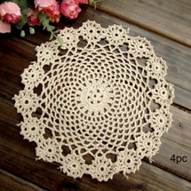 kilofly Crochet Cotton Lace Table Placemats Doilies Pack, 4pc, Garland, 7 inch