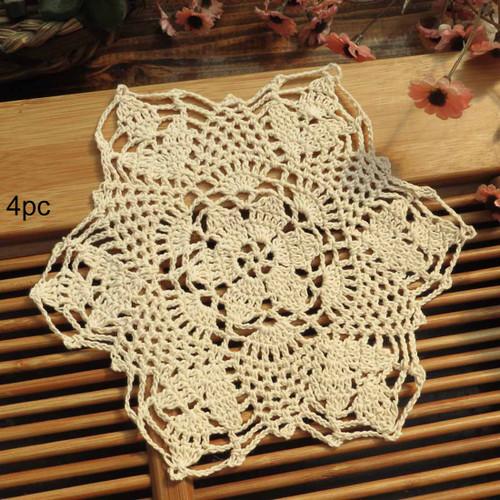 kilofly Crochet Cotton Lace Table Placemats Doilies Vase Pads, 4pc, 7 inch