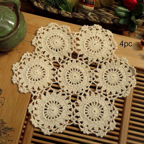 kilofly Crochet Cotton Lace Table Placemats Doilies Pack, 4pc, Blossoms, 10 inch