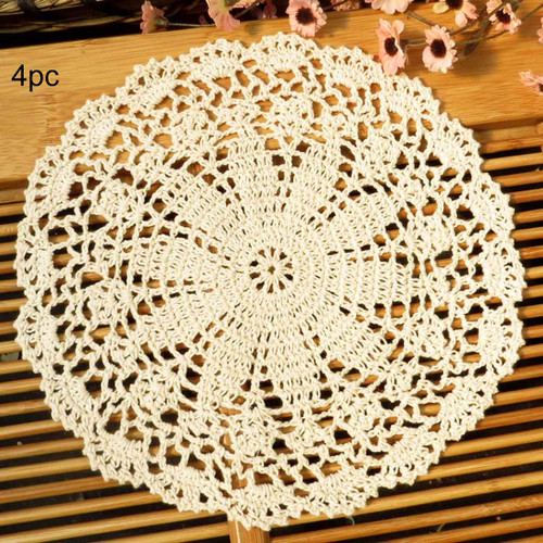 kilofly Crochet Cotton Lace Table Placemats Doilies Value Pack, 4pc, Persia
