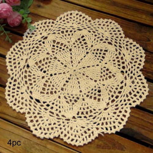 kilofly Crochet Cotton Lace Table Placemats Doilies Value Pack, 4pc, Roma