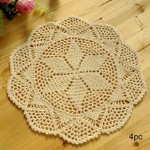 kilofly Crochet Cotton Lace Table Placemats Doilies Value Pack, 4pc, Hexa, 12 inch