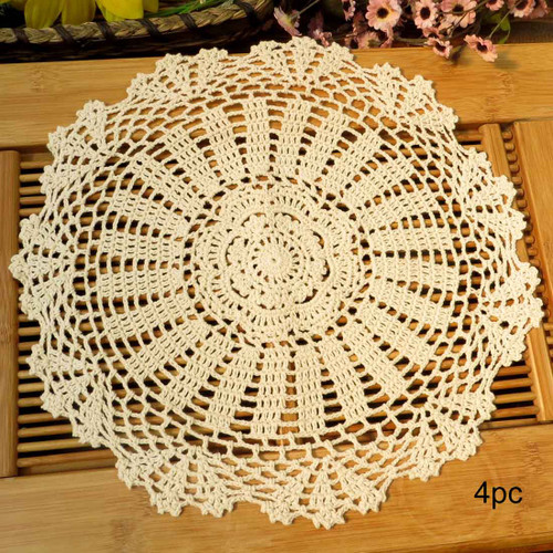 kilofly Crochet Cotton Lace Table Placemats Doilies Value Pack, 4pc, Daisy, 13.7 inch