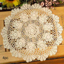 kilofly Crochet Cotton Lace Table Placemats Doilies Value Pack, 4pc, Rosary