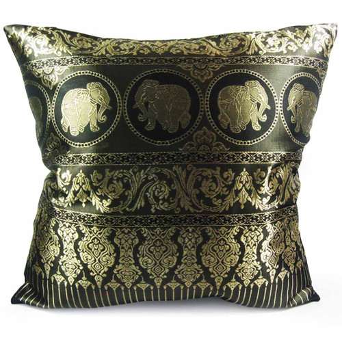 "kilofly Home Decorative Throw Pillow Cover, 18"" x 18"", Thai Elephant, with kilofly Refrigerator Magnet"