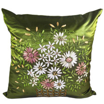 "kilofly Home Decorative Throw Pillow Cover, 18"" x 18"", Hand Embroidery Floral, with kilofly Refrigerator Magnet"