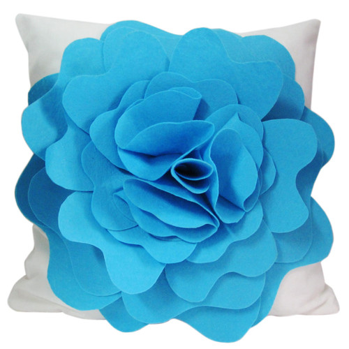 """kilofly Home Decorative Throw Pillow Cover, 18"""" x 18"""", 3D Floral"""