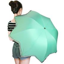 kilofly Folding Lotus Parasol Umbrella with Ruffles, UPF 40+