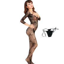 kilofly Sexy Sheer Open Crotch Bodystocking, Black, Butterfly, with G-string
