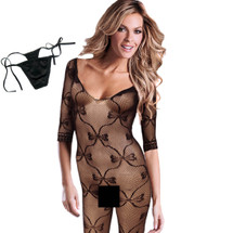 kilofly Sexy Sheer Open Crotch Bodystocking, Black, Cute Bow, with G-string
