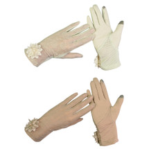 kilofly Women's Short Anti-UV Lace Dress Sun Block Driving Gloves, 2 Pairs