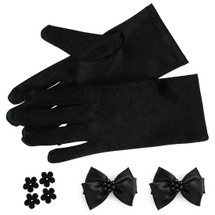 kilofly Satin Child Size Short Formal Gloves + DIY Matching Bow 4 Flower Patches