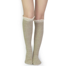 kilofly Women's Soft Lace Trim Knee-High Socks