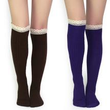 kilofly Women's Soft Lace Trim Knee-High Socks, Value Set of 2 Pairs