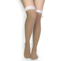 kilofly Women's Lace Trim Knee-High Boot Socks