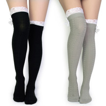 kilofly Women's Lace Trim Knee-High Boot Socks, Value Set of 2 Pairs