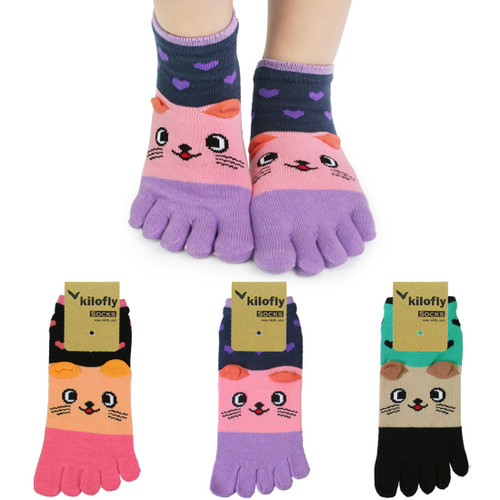 kilofly Cute Full Toe Socks Value Pack, with Small Earflaps, Set of 3 Pairs