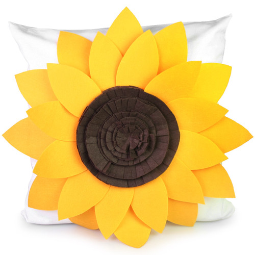 "kilofly Home Decor Throw Pillow Cover, 18"" x 18"", 3D Sunflower"