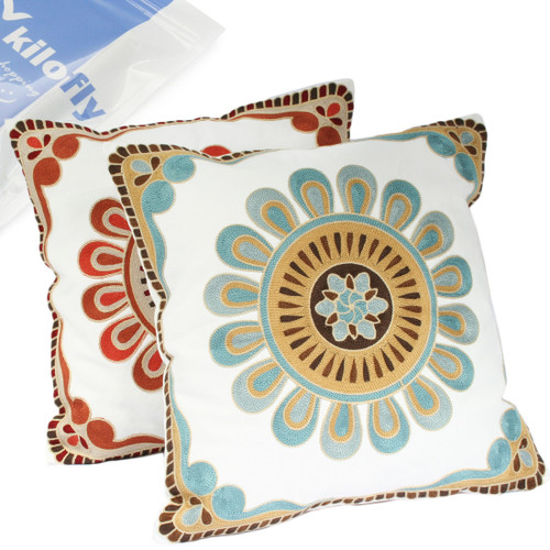 "kilofly Decorative Floral Embroidery Throw Pillow Case Cover 18"" x 18"", Set of 2"
