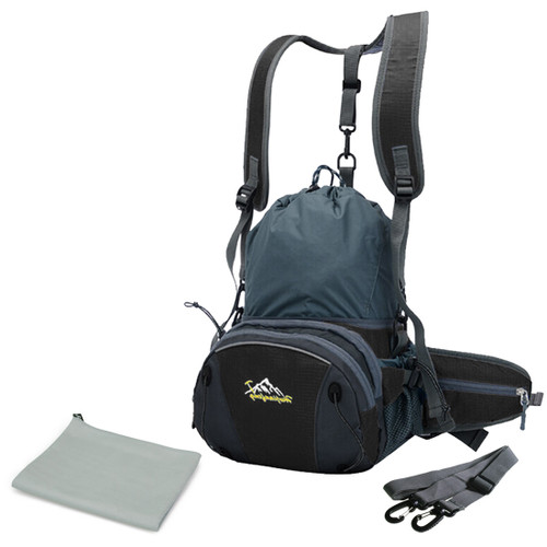 kilofly Outdoor Sports Expandable Waist Pack Backpack + Quick Dry Towel Combo
