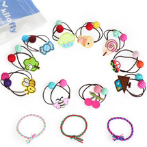 kilofly Girls 10 Elastic Hair Band + 3 Hair Ties Ponytail Holders Value Pack