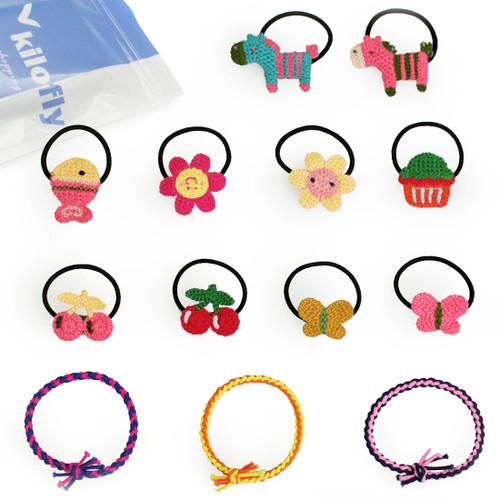 kilofly 10 Crocheted Elastic Band + 3 Hair Ties Ponytail Holders Value Pack