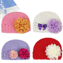 KF Baby Super Soft Crochet Beanie Hat with Assorted Flower Clip, 4 Hats + 6 Flower Clips
