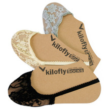 kilofly Lace Liner No Show Sling Back Socks with Forefoot Cushion [Set of 3 Pairs]