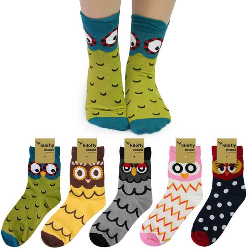 kilofly Novelty Crew Socks Value Pack [Set of 5 Pairs] - Lovely Owl