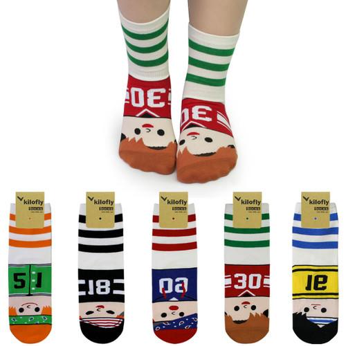 kilofly Novelty Crew Socks Value Pack [Set of 5 Pairs] - Soccer Kids