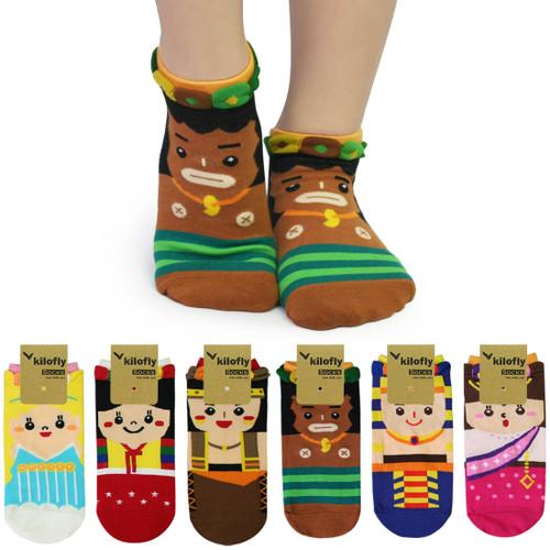 kilofly Novelty Crew Socks Value Pack [Set of 6 Pairs] -Small Small World