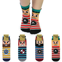 kilofly Novelty Crew Socks Value Pack [Set of 4 Pairs] - Caribean Pirates