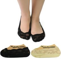 kilofly No Show Full Cuff Silicone Grip Non-Skid Socks [Set of 2, Black & Beige]