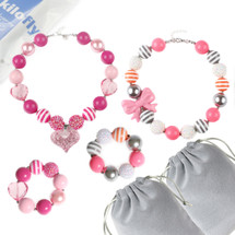 kilofly Princess Party Favor Jewelry Value Pack, Necklace & Bracelet, 2 Sets