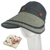 kilofly Women's Large Brim Removable Top UV Sun Visor Cap + Handkerchief Set