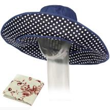 kilofly Women's 2 in 1 Large Wide Brim Anti UV Sun Bucket Hat + Handkerchief Set