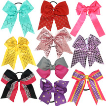 """kilofly Large Ribbon Elastic Boutique Hair Bow Ties, 5"""" - 8"""" Assorted, Set of 10"""