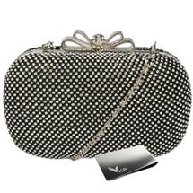 kilofly Bow Snap Clutch Handbag Purse Hard Case, Rhinestone Crystal + Money Clip