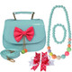 kilofly Little Girl Handbag + Ribbon Bow Hair Clip + Necklace + Bracelet Set