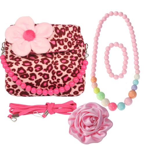 kilofly Little Girl Plush Handbag + Big Rose Hair Clip + Necklace + Bracelet Set
