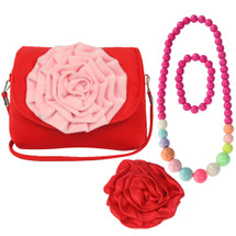 kilofyl Little Girl Shoulder Bag + Big Rose Hair Clip + Necklace + Bracelet Set