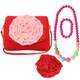 kilofyl Little Girl Shoulder Bag + Big Rose Hair Clip + Necklace + Bracelet Set