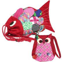 kilofly Colorful Fish Drawstring Crossbody Bag + Owl Coin Purse Pouch Set, Small