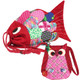 kilofly Colorful Fish Drawstring Crossbody Bag + Owl Coin Purse Pouch Set, Small