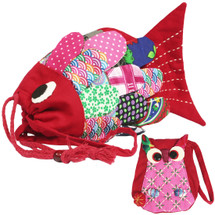 kilofly Colorful Fish Drawstring Crossbody Bag + Owl Coin Purse Pouch Set, Large